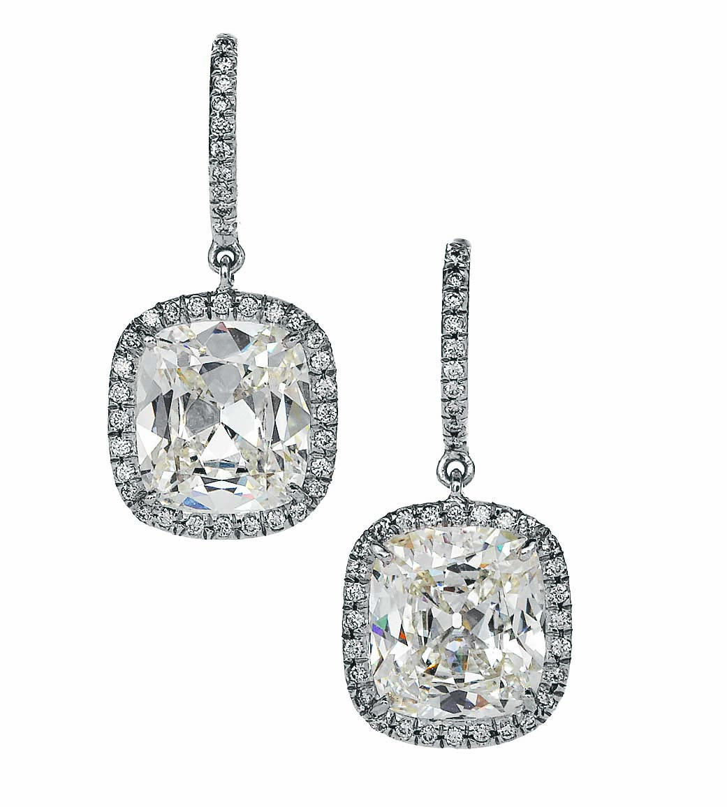 diamond cushion cut lisette earrings hamilton jewelers