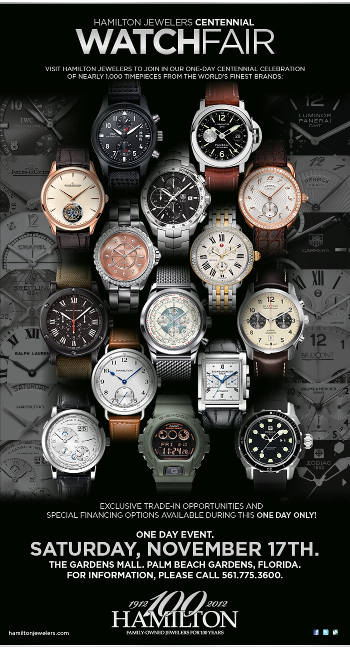 Gucci Benz >> Join Us Today for Our Centennial Watch Fair :: Hamilton Jewelers