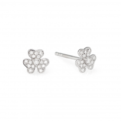 Petite Gold and Diamond Floer Earrings