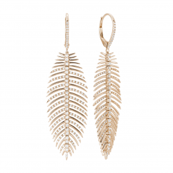 Rose Gold and Diamond Feather Earrings