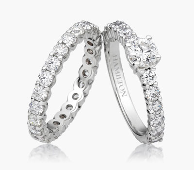 Duet collection diamond rings