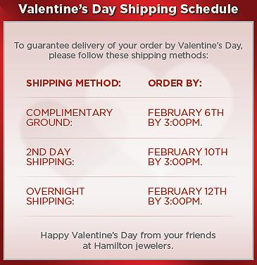 Valentine's Day Shipping Schedule