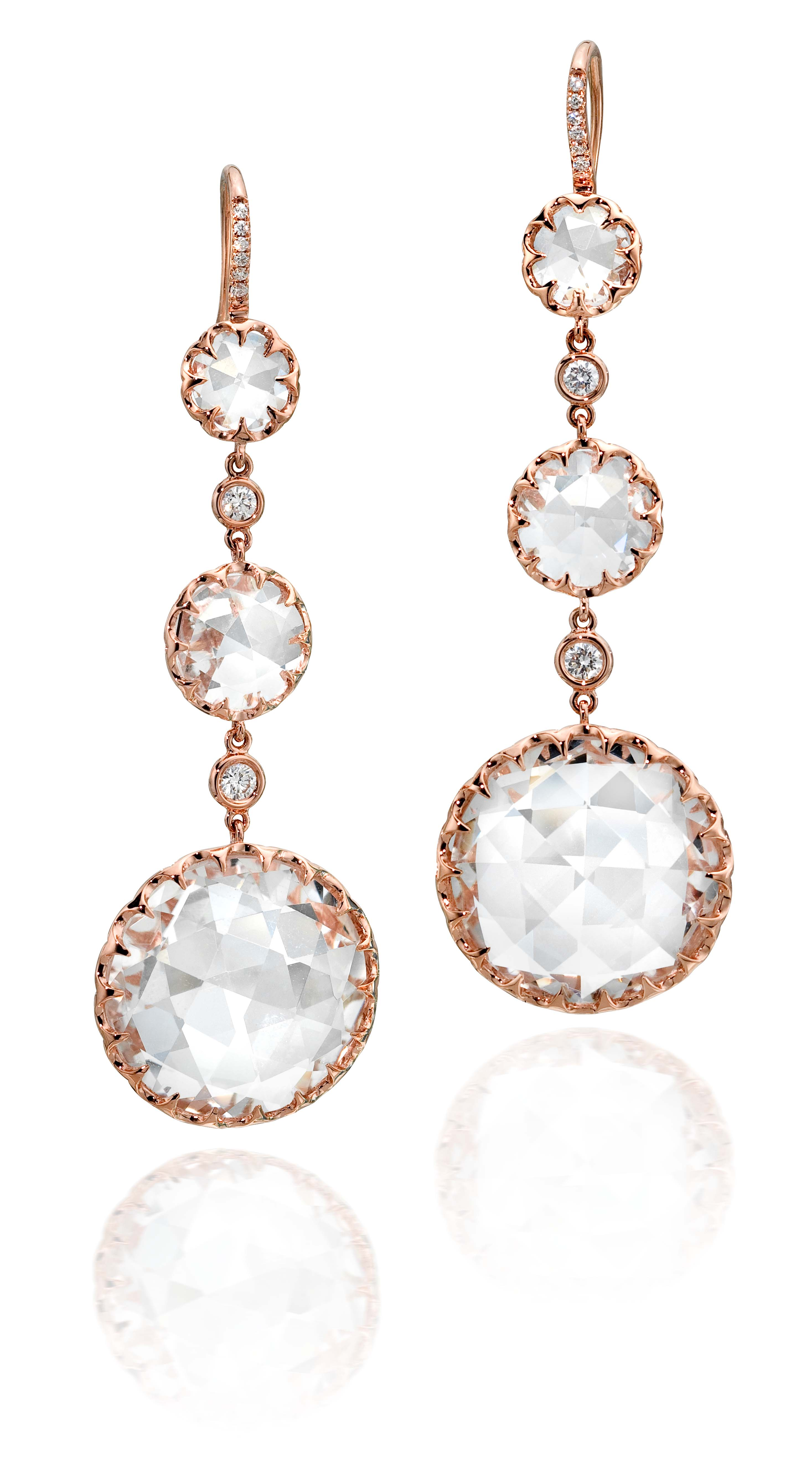 E0258 Long Rose Gold Round Rock Crystal Drop Earrings On Pave Diamond French Wire