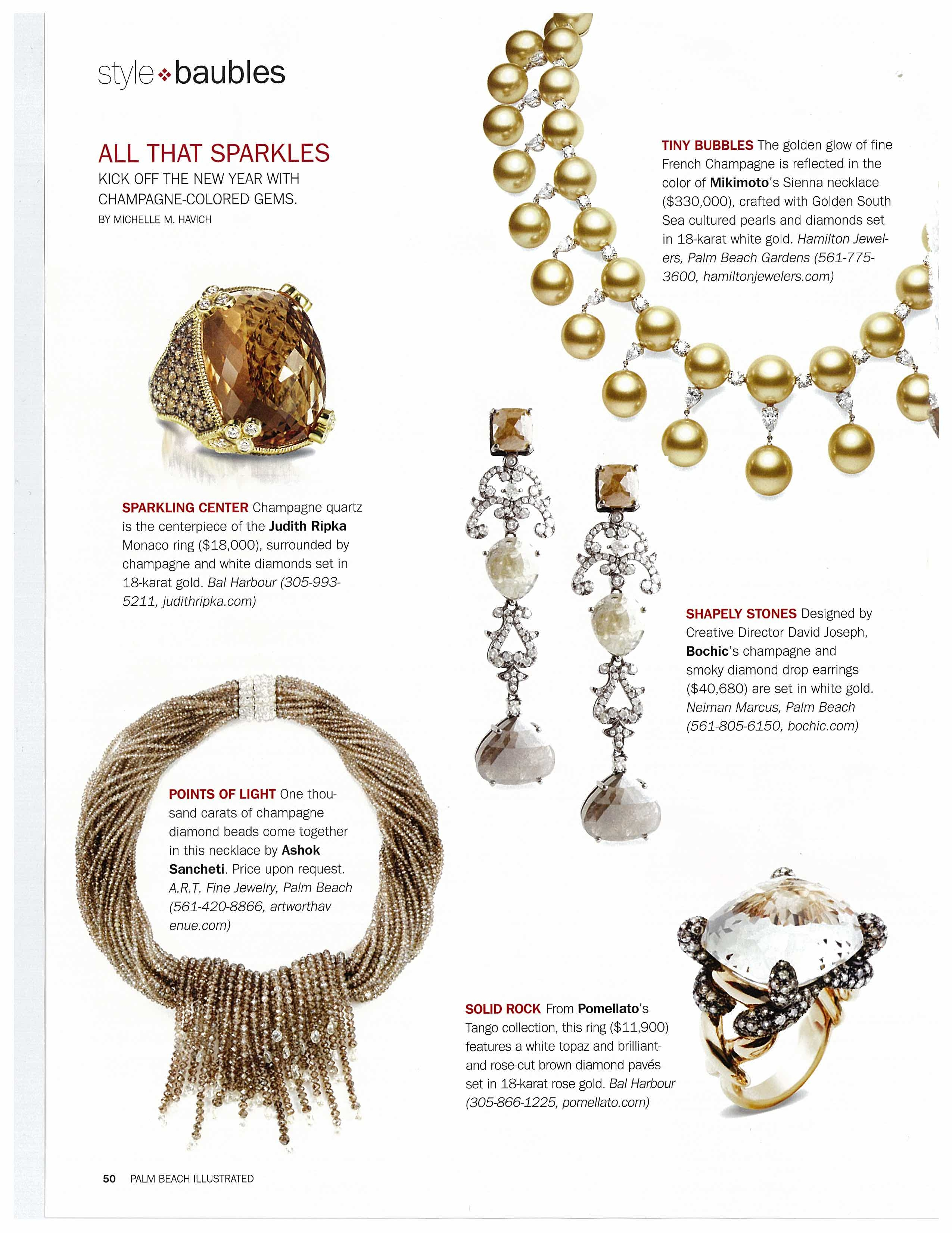 Palm Beach Magazines ChampagneColored Style Baubles Hamilton