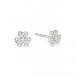 Petite Gold and Diamond Floer Earrings