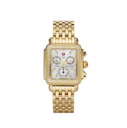 Michele Gold Diamond Deco Watch