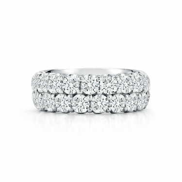 18k White Gold and Diamond Two Row Band
