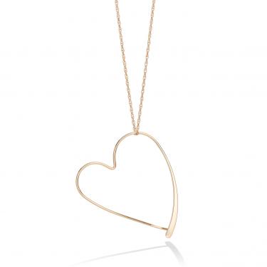 14K Gold Open Heart Pendant