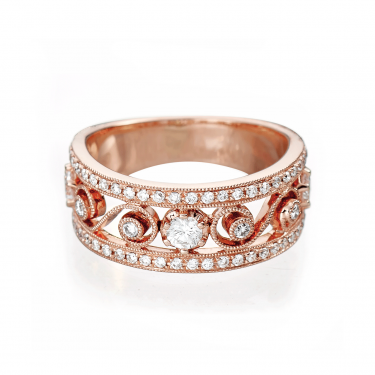 Heritage 18K Rose Gold and Diamond Wide Band