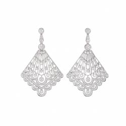 Heritage White Gold Diamond Fan Earrings