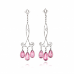 Platinum Diamond Pink Tourmaline Earrings