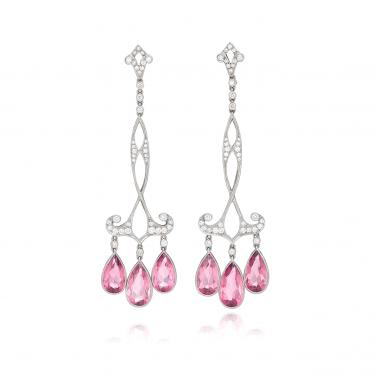 Platinum Diamond Pink Tourmaline Earrings