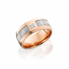 14K Rose Gold and Meteorite Diamond Band