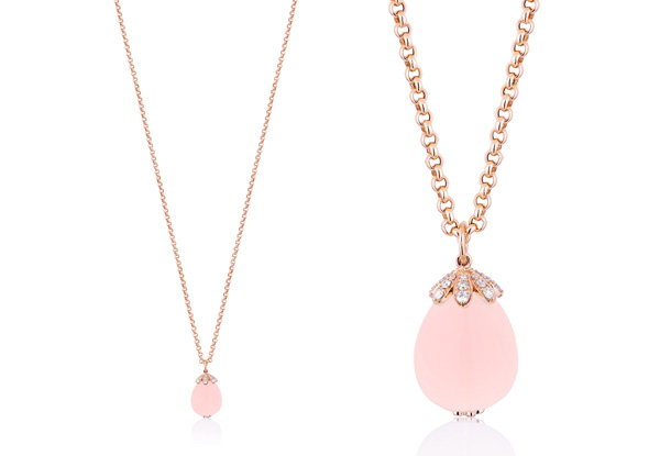Rose Quartz Pendant with Diamonds in 18KP from our 'Naughty' collection