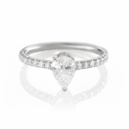 18K White Gold and .68 CT Pear Shape Diamond Engagement Ring