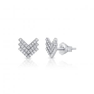 14k White Gold and Diamond Triple Chevron Earrings