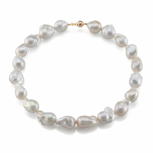 14K GOLD AND BAROQUE PEARL NECKLACE