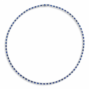 18K WHITE GOLD AND SAPPHIRE LINE NECKLACE