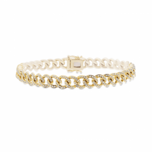 14K YELLOW GOLD AND DIAMOND CURB LINK BRACELET