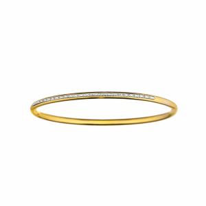 ARTISAN STEEL AND YELLOW GOLD PLATED DIAMOND BANGLE