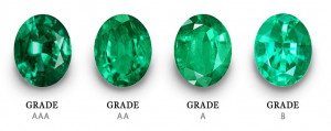Emeralds ranked from left to right (best quality to lacking) on their color: AAA, AA, A