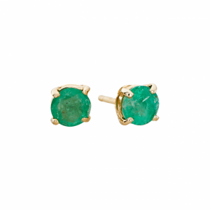 May birthstone, emerald stud earrings in yellow gold.