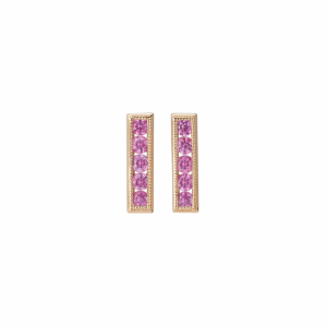 Pink sapphire gemstone earrings with yellow gold.