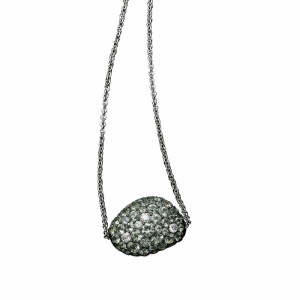 Green sapphire pendant with white gold.