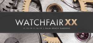 """The words """"Watch Fair XX"""" on a black strip background over wheels and cogs of timepiece mechanics."""