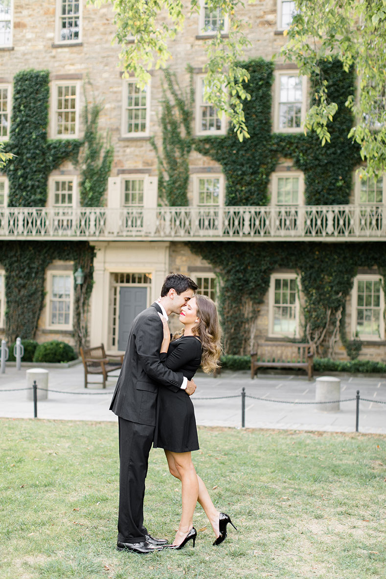 Matt (left) embraces his fiancé (right) in a tender moment on the Princeton University Campus.