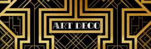 black and gold geometric, art deco design