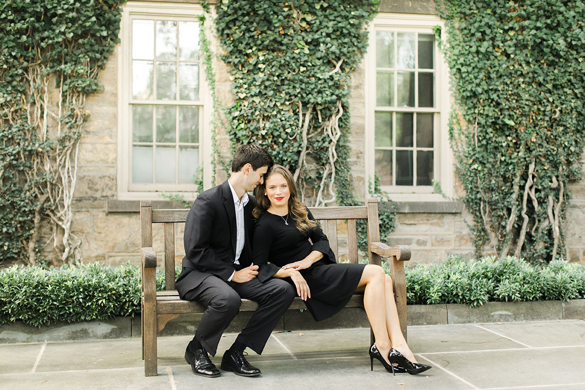 Matt (left) & Jenna (right) sit together on a bench on the Princeton University campus.