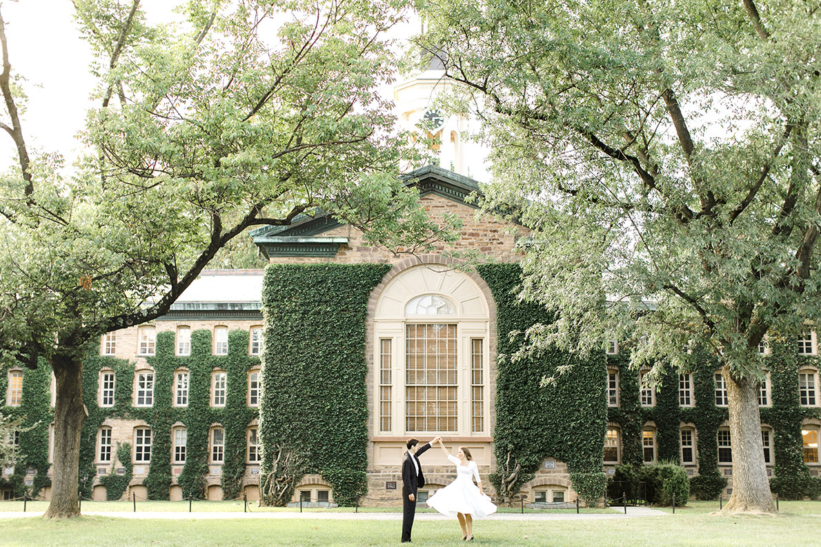 Jenna (right) and Matt (left) wear white and black in their engagement photos on the Princeton University campus.