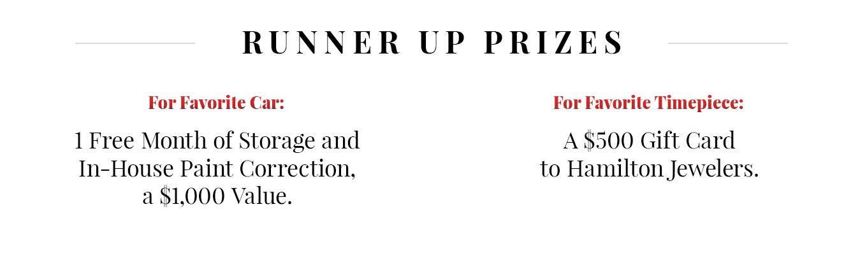 Runner up prizes
