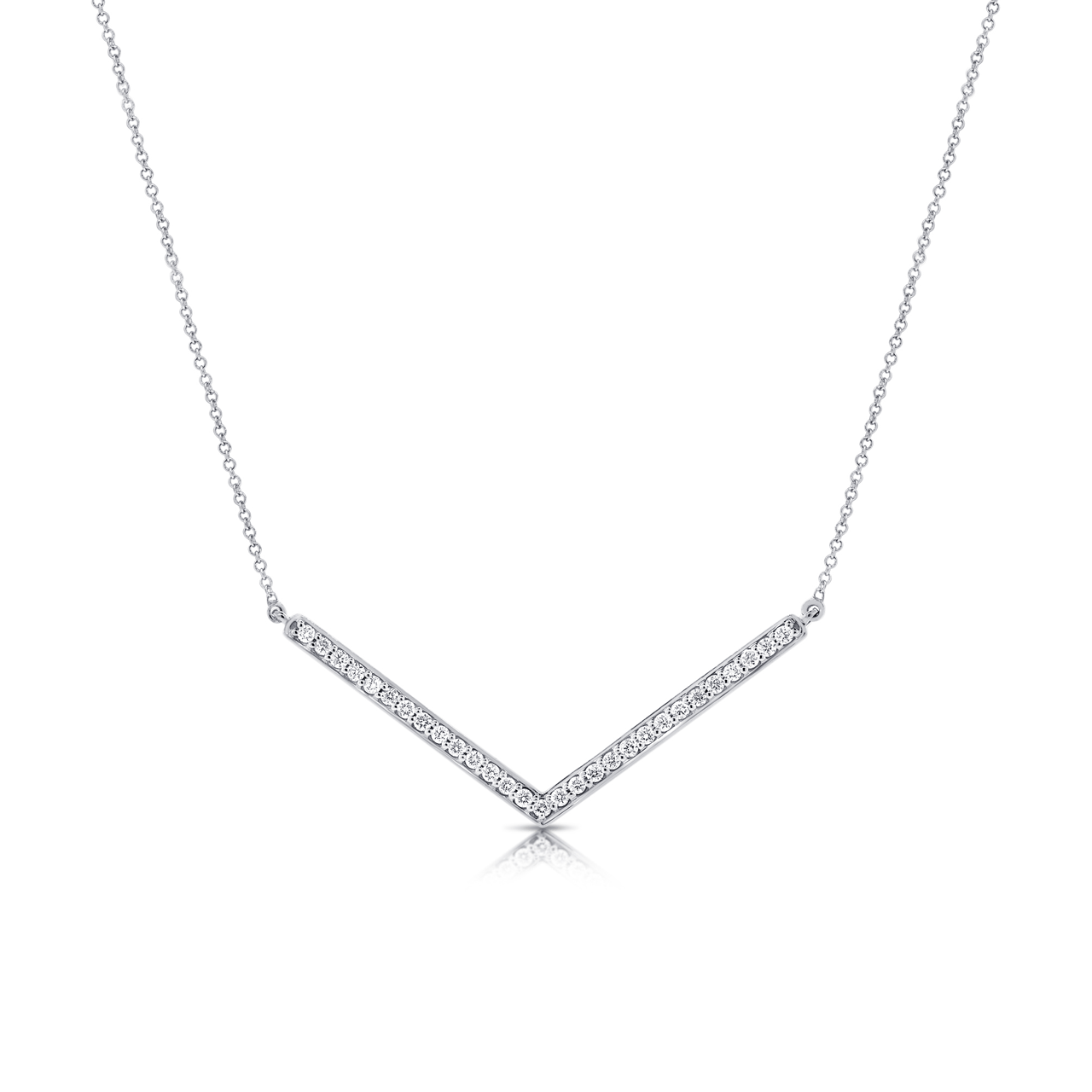 Minimalist v-shaped diamond and white gold necklace.
