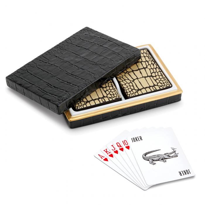 fancy gator skin playing-card holder