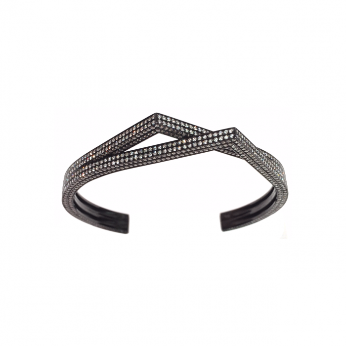 Repossi Antifer 18k Gold and Black Rhodium Diamond Bracelet