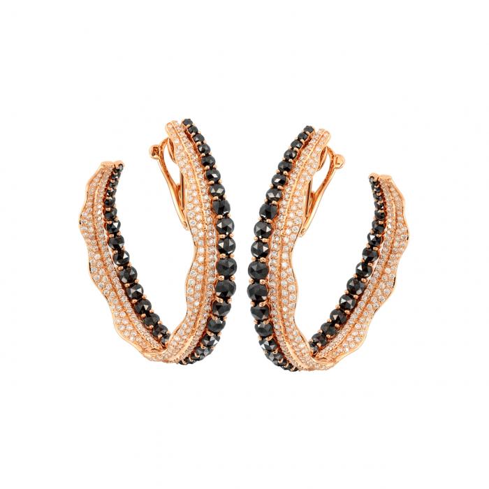 Etho Maria 18k Rose Gold Black and White Diamond Hoop Earrings