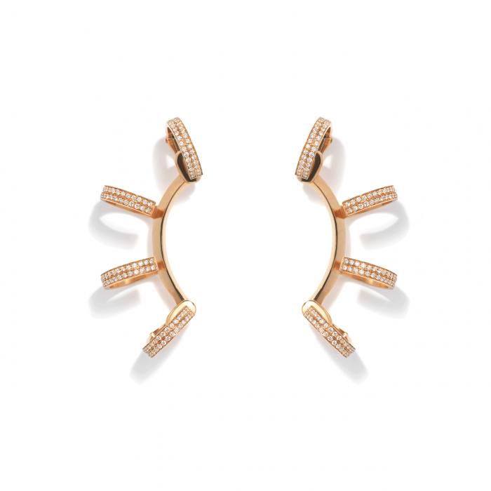 Repossi Barbere 18k Rose and Gold Diamond Earrings