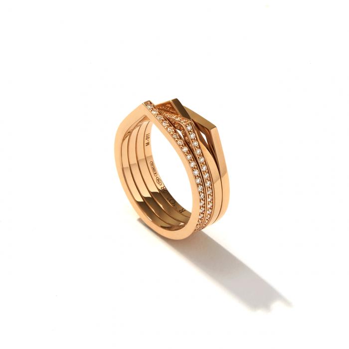 Repossi 18k Rose Gold and 4 Row Diamond Ring