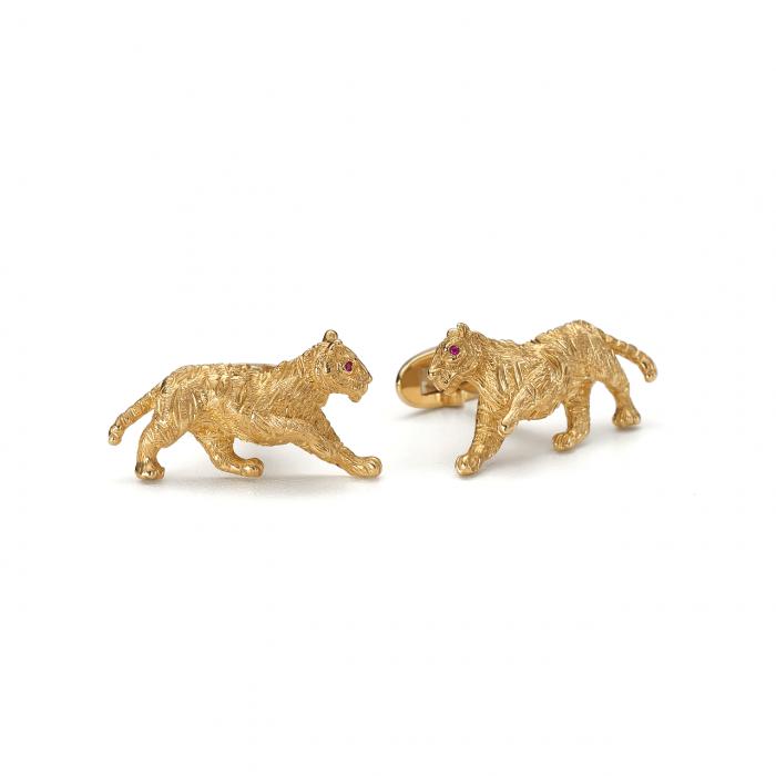 18k Yellow Gold Tiger Cufflinks