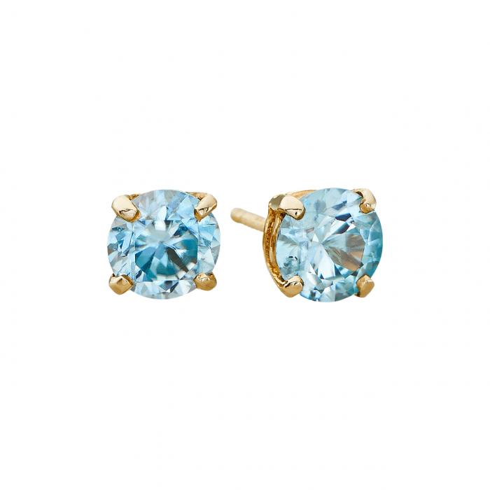 14k 5mm Aquamarine Birthstone March Stud Earrings