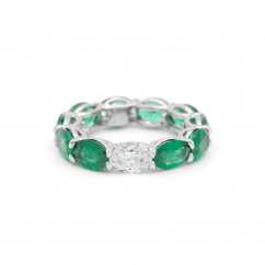 Platinum and Oval Emerald Eternity Band