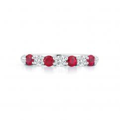 Platinum Alternating Diamond and Ruby Ban