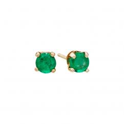 14k 3mm Emerald Birthstone May Stud Earrings