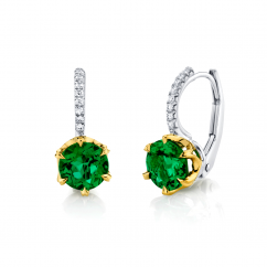 Platinum and 18k Gold Emerald and Diamond Earrings