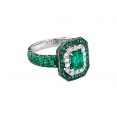 18k Emerald and Diamond Deco-Design Ring