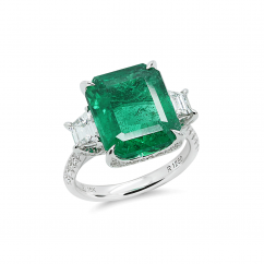 18k White Gold and 7.44CT Emerald Cut Emerald Ring