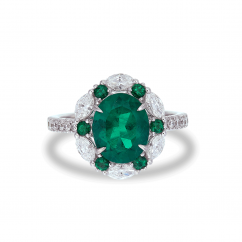 18k White Gold and 2.15CT Oval Colombian Emerald Ring