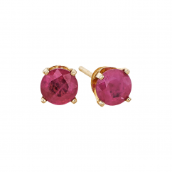 14k 5mm Ruby Birthstone July Stud Earrings